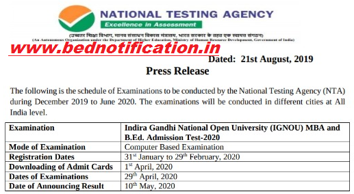 IGNOU B.Ed Call Letter 2020