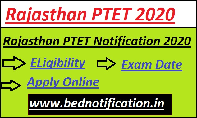 Rajasthan PTET Notification 2020